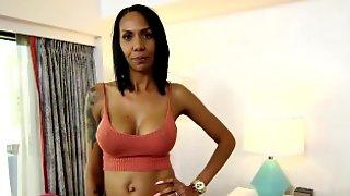 Husband Blows Up Phone While Tall Ebony MILF Wife Fucks Young Mom Pov Stud